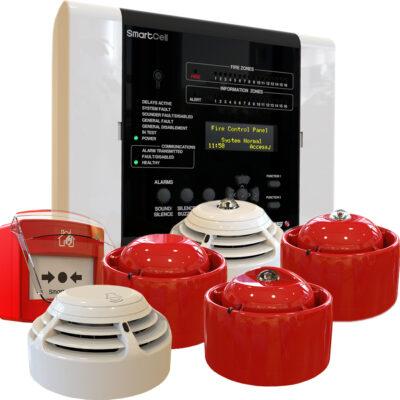 SmartCell_Central, botão de alarme manual, sirenes interiores e detetores